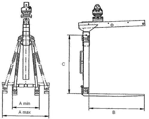 Zawiesie widłowe hydrauliczne ze śrubą rzymską - szkic techniczny