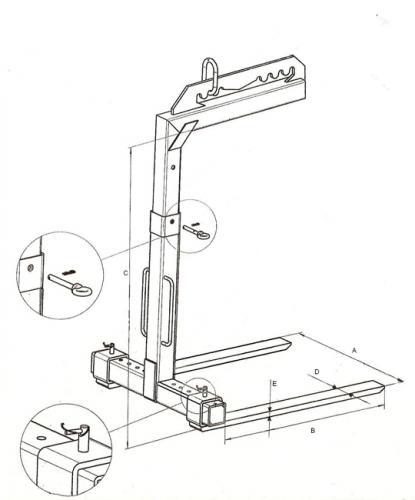 Zawiesie widłowe grzebieniowe - szkic techniczny