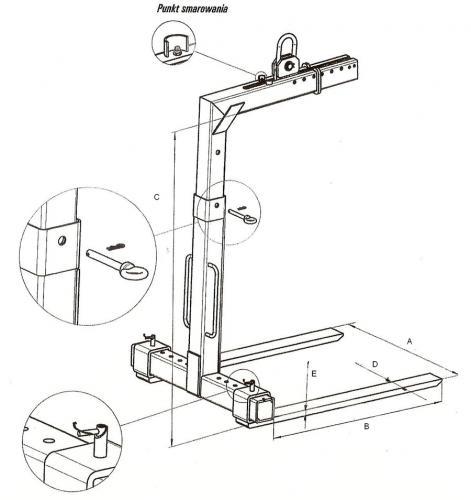 Szkic techniczny - zawiesie widłowe samopoziomujące